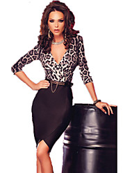 Women's Luxury Leopard Print Top Wrap Midi Dress with Belt