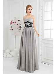 Ball Gown Sweetheart Floor Length Chiffon Formal Evening Dress with Appliques Side Draping