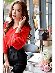 Informell / Business V-Ausschnitt - ¾ Ärmel - FRAUEN - Tops & Blusen ( Polyester )