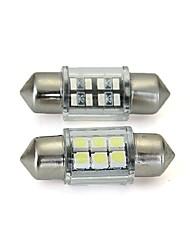 dôme blanc 6 cms conduit intérieur de la voiture 31mm de lumière de l'ampoule (2 pcs)