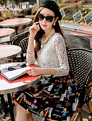 Women's 2016 New Spring Lace  Casual / Day / Cute Print / Patchwork A Line Dress , Round Neck Above Knee