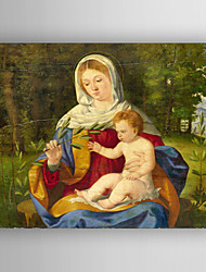 Oil Painting The Virgin and Child with a Shoot of Olive Hand Painted Canvas with Stretched Framed