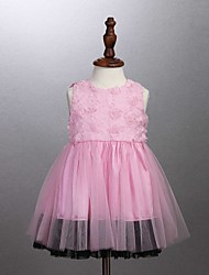 Girl's Pink Dress,Ruffle Cotton All Seasons