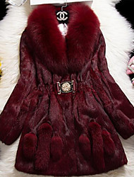 Women Rabbit Fur Outerwear , Lined