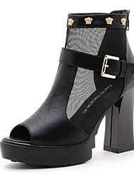 Women's Shoes Leatherette Chunky Heel Peep Toe Sandals Office & Career / Party & Evening / Dress Black / Silver / Gold