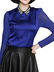 Spring Plus SizesWomen's Beading Shirt Collar Long Sleeve Slim Formal OL Shirt Blouse Tops