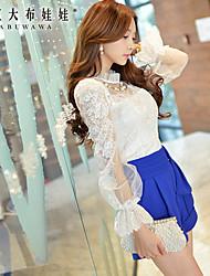 Mulheres Camisa Casual Fofo Primavera,Patchwork Branco Poliéster / Elastano Colarinho Chinês Manga Longa Média