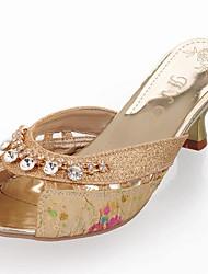 Women's Shoes Heel Heels / Peep Toe Sandals / Heels / Clogs & Mules Outdoor / Dress / Casual Blue / Gold