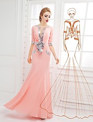 Formal Evening Dress Trumpet/Mermaid Scoop Floor-length Chiffon