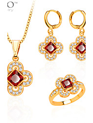 New Trendy Jewelry Set Women Party Gift 18K Gold Plated Zircon Crystal Necklace Earrings Ring Jewelry Sets S20053