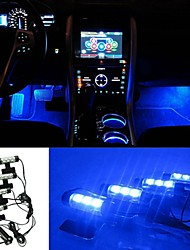 ZIQIAO 3LED Car Charge 12V 4W Glow Interior Decorative 4in1 Atmosphere Blue Light Lamp Atmosphere Inside Foot Lamp