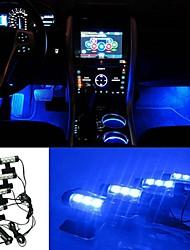 ziqiao 3LED voiture chargée 12v 4w briller intérieur atmosphère 4in1 décoratif lumière bleue atmosphère de la lampe à l'intérieur de la