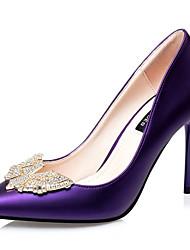 Women's Shoes Silk Stiletto Heel Heels Heels Wedding / Dress Black / Green / Purple / White / Silver / Burgundy