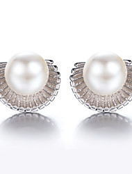 2016 Korean Women 925 Silver Sterling Silver Jewelry Imitation Pearl Shell Earrings Stud Earrings 1Pair