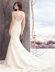 LAN TING BRIDE Sheath / Column Wedding Dress Beautiful Back Court Train Bateau Lace Tulle with Appliques Button