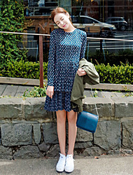 Korean Style Women's Casual / Day / Simple Polka Dot Loose Dress , Round Neck Above Knee Cotton