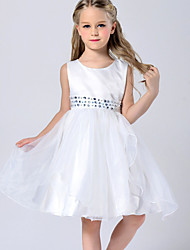 A-line Knee-length Flower Girl Dress - Tulle / Polyester Sleeveless Jewel with