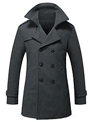 Men's Long Sleeve Long Coat , Wool / Polyester Pure