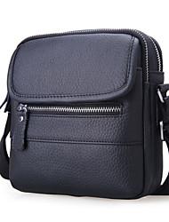 Schoudertas / Mobile Phone Bag - Bruin / Zwart - Messenger - Koeienhuid - Heren