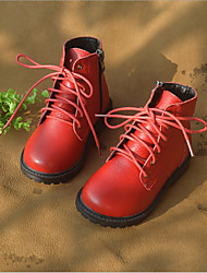 Winter Boys' Shoes Outdoor / Casual Leather Fashion Boots Black / Red