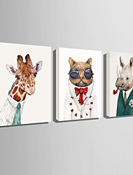 Rectangular Moderno/Contemporáneo Reloj de pared , Animales Lienzo35 x 50cm(14inchx20inch)x3pcs/ 40 x 60cm(16inchx24inch)x3pcs/ 50 x