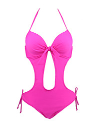 Womens Solid Color Bow Front Push Up One Piece Swimwear