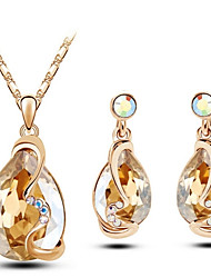 Jewelry Set Shining Crystal Elegant Water Drop Pendant Necklace Earring(Assorted Color)