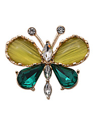 Fashion Women Stone Set Butterfly Metal Brooch