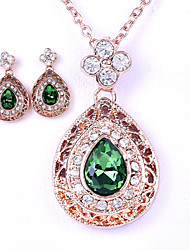 Jewelry Set Shining Crystal Elegant Water Drop Pendant Necklace Earring Gift for Bride(Assorted Color)