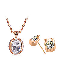 Jewelry Set Classic Elegant Crystal Pendant Necklace Earrings Girlfriend Gift