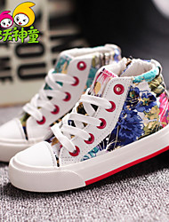 Girls' Shoes Outdoor / Casual / Athletic Canvas Spring / Summer / Fall Comfort / Round Toe Flat Heel Lace-up / Flower Blue / Red