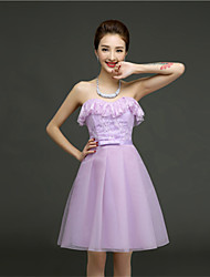 Short/Mini Lace Bridesmaid Dress - Lavender / Pearl Pink / Champagne A-line Sweetheart