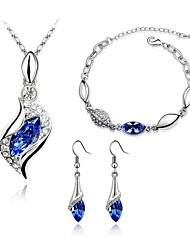 Jewelry Set Shining Crystal Angel Pendant Necklace Earring Bracelet(Assorted Color)