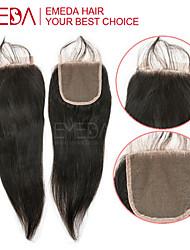 el cierre de encaje peruana recta 8-20 pulgadas de cierre de encaje nudos blanqueados media del pelo humano de cierre 4x4 3 parte