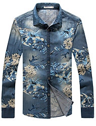 Men's Print Long Sleeve Top , Cotton / Acrylic / Polyester Casual / Work k085