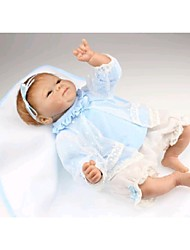 NPKDOLL Reborn Baby Doll Soft Silicone 18inch 45cm Magnetic Lovely Lifelike Toy Cute Boy Girl Smile Blue Dress