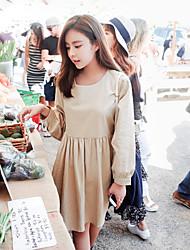 estilo coreano mulheres casuais / dia vestido solto / simples sólida, em torno do pescoço acima do joelho