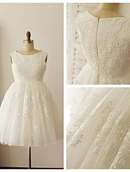A-line Wedding Dress - Ivory Knee-length Scoop Lace / Tulle