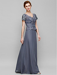 Sheath / Column Mother of the Bride Dress Floor-length Short Sleeve Chiffon / Lace with Lace
