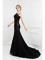 Formal Evening Dress - Black Trumpet/Mermaid Spaghetti Straps Sweep/Brush Train Chiffon / Lace