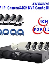 Strongshine®IP Camera with 720P/Infrared/Waterproof and 4CH  H.264 NVR Combo Kits