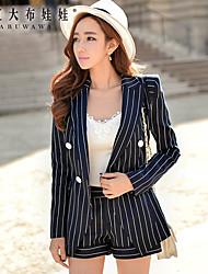Women's Striped Blue Blazer , Work Shirt Collar Long Sleeve