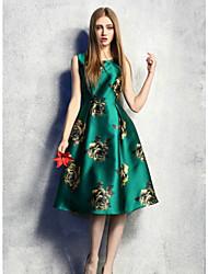 Women's Vintage Floral Swing Dress , Round Neck Knee-length Nylon