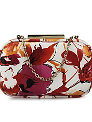 Women's PU Flower Evening Bags Clutch Box Purse with Metal Frame