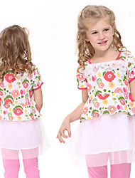 Girl's Dresses Girls Princess Dress Floral Short Sleeve Party Dresses Children Dresses(Random Printed)