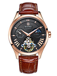 Bestdon® Men Automatic Self-winding 50m Waterproof Dual Time Zones Moon Phase Crystal Steel and Leather 41mm Watch Wrist Watch Cool Watch Unique Watch