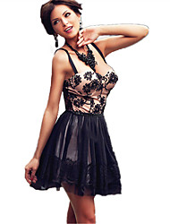 Women's  Black Embroidered Sheer Mesh Nude Illusion Party Dress