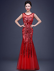 Formal Evening Dress Trumpet / Mermaid Scoop Floor-length Lace / Tulle / Sequined with Beading / Lace / Pearl Detailing / Sequins