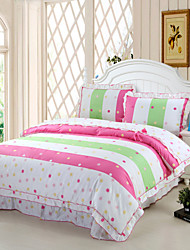 Punctuate Fashion, Full Cotton Reactive Printing Stripe Fashion Point Bedding Set 4PC, FULL Size