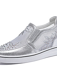 Women's Shoes Glitter / Tulle Wedge Heel Creepers Heels Office & Career / Athletic / Dress/Casual White/Silver